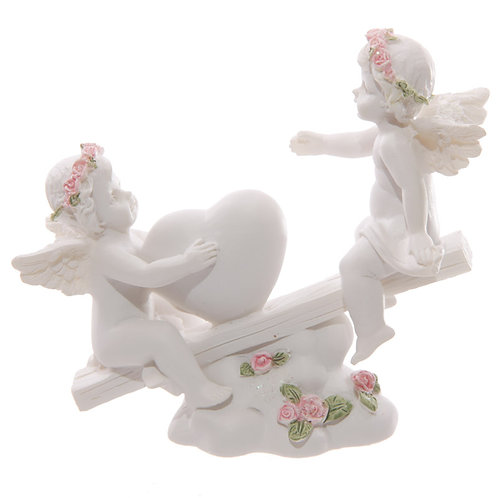 CHE19.  Cherub Heart Seesaw with Pink Roses