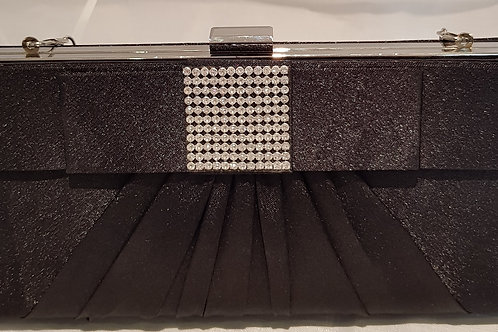 B404.  Black hard cased satin bow and diamontie detail clutch bag.