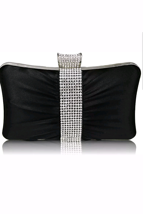 20101. Hard cased Satin Diamontie detail clutch bag.