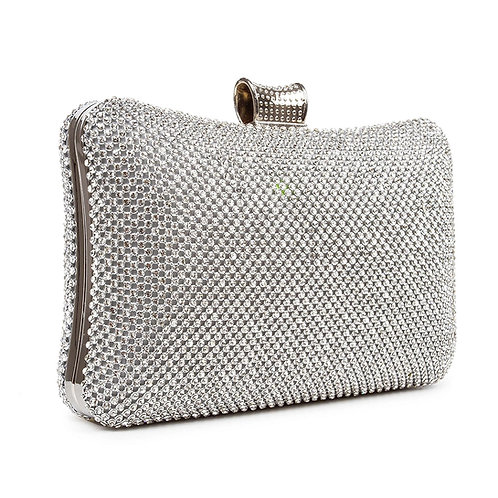 1970.  Ladies Silver Evening Bag Sparkle Crystal Diamante Clutch