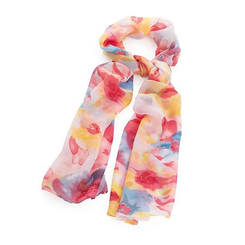 SC31286.  Pink tone flower print scarf.