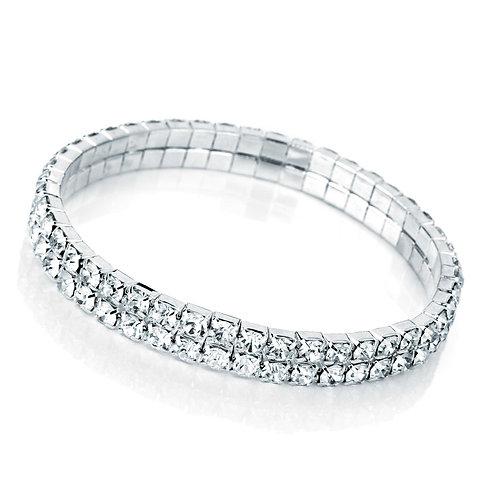 BL25427.  Silver colour elasticfated bracelet.