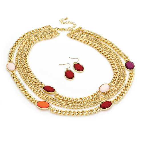 N29544.    Gold rd tone bead necklace and earrings.