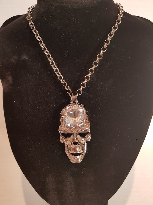 Gothic Diamontie Detailed Skull Head Necklace