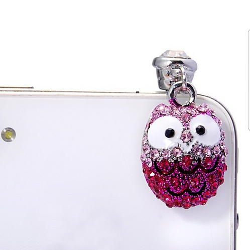 D147.  Big Eyes Owl Diamond Dust Plug Pendant