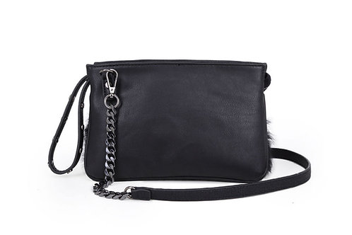Small fur detailed shoulder/cross body bag