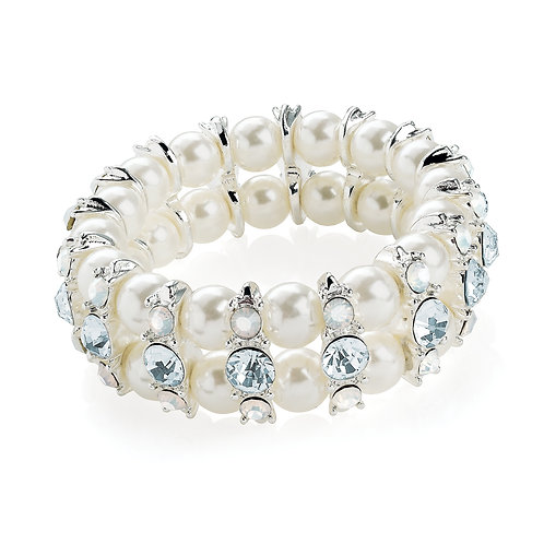 BL30595- Silver, white and pearl bracelet
