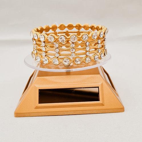 Diamontie, block & wavey detailed gold plated 3 piece Bangle set.