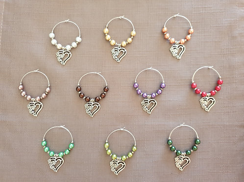 Flower & Heart Design Hand Crafted Wine/Gin Glass Charms