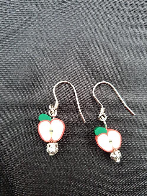 Cute Handmade Red Apple Earrings.