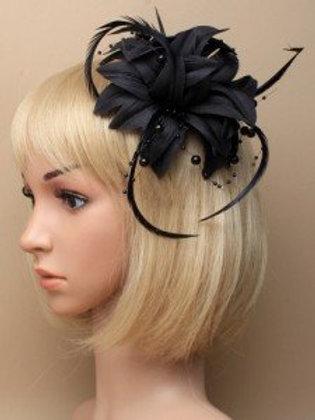 5864.  Black fabric, flower fascinator