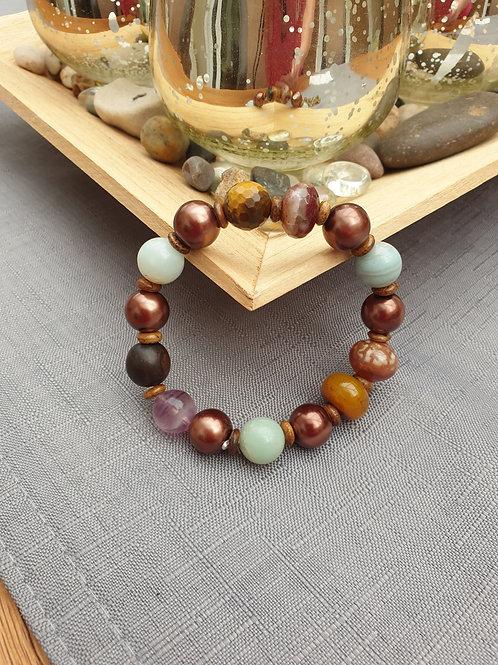 Textured mixed beaded Elasticated Bracelet - Handmade