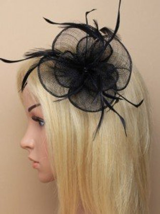 6617.  Black circular sinamay and feather fascinator