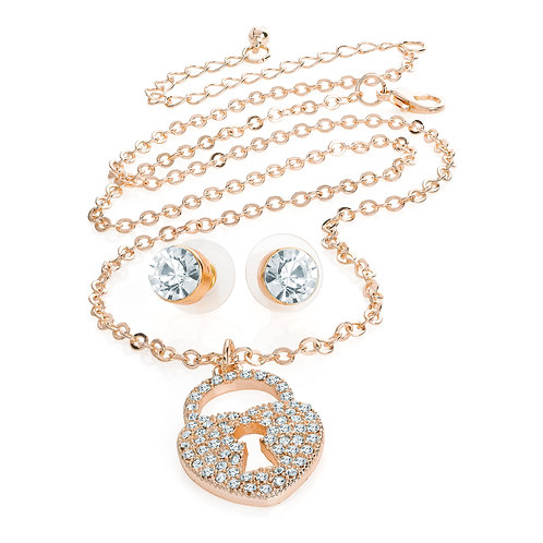 N31134.  Rose gold lock necklace and earrings