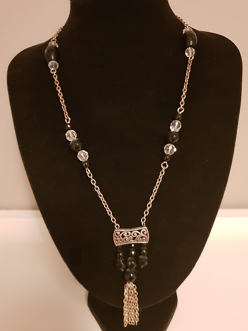 Black Onyx & Crystal with detailed pendant and chain & bead tassel