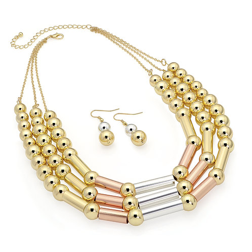 N29775.  Three tone ball chain necklace and earrings.