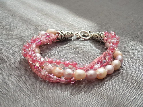 Pink Multi-Strand beaded bracelet - Handmade