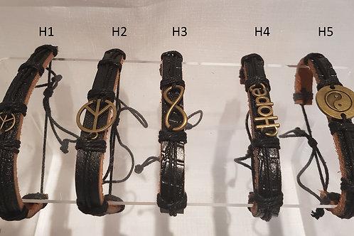 HOPE.  Mens, Womens adjustable leather peace Wrist Wrap