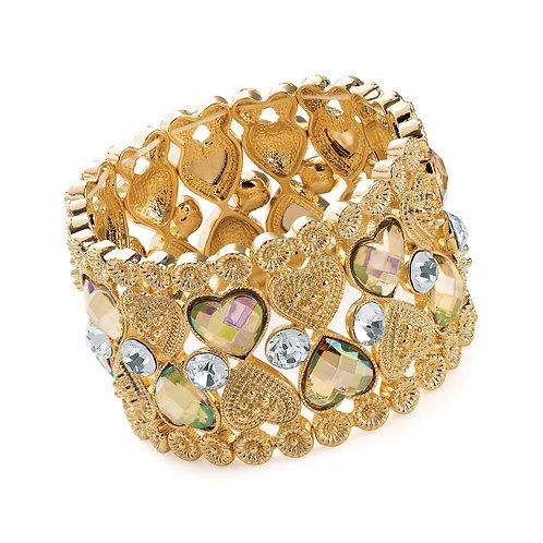 BL30620.  Gold & Crystal effect heart elasticated bracelet.