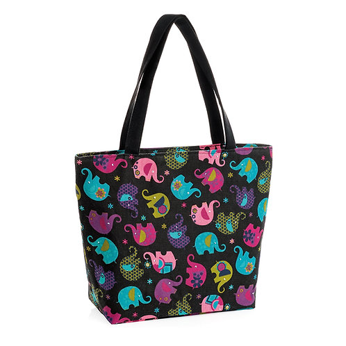BG31237.  Black, multi Elephant tote/Beach/Canvas bag.