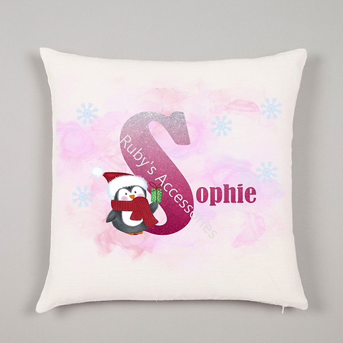 Personalised Penguin Christmas Cushion