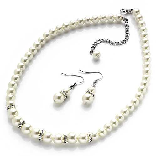 N07417 - Pearl crystal necklace and earring set
