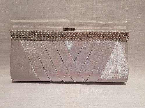 33920.  Ladies Silver Diamante Detailed Satin Clutch Bag