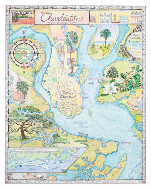 Charleston SC Illustrated Map on