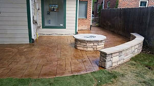 Stamped Concete Patio, Fire Pit & Seat Bench.jpg