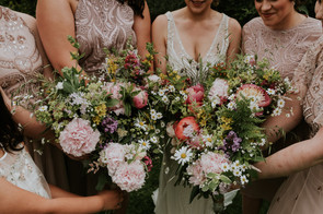 Handtied bridal and bridesmaids bouquets using locally grown flowers by Hollow Meadows Flowers, Sheffield and the Peak District