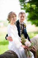 Handtied bridal bouquet and Grooms buttonhole using locally grown flowers by Hollow Meadows Flowers, Sheffield and the Peak District. Photo - Kate Cooper Photography