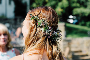 Handtied flower crown using locally grown flowers by Hollow Meadows Flowers, Sheffield and the Peak District.Photo - Joe Horner Photogrpahy