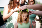 Handtied flower crown using locally grown flowers by Hollow Meadows Flowers, Sheffield and the Peak District. Photo - Kate Cooper Photography