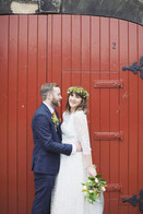 Handtied Bridal flower crown, bouquet and grooms buttonhole using locally grown flowers by Hollow Meadows Flowers, Sheffield and the Peak District.