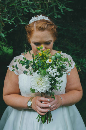 Handtied bridal bouquet using locally grown flowers by Hollow Meadows Flowers, Sheffield and the Peak District. Photo - Luis Calow Photography