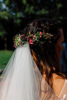 Handtied bridal flower crown using locally grown flowers by Hollow Meadows Flowers, Sheffield and the Peak District.Photo - Joe Horner Photogrpahy