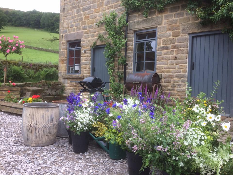 DIY flower buckets deliverd at the wedding venue - The Gathering, Edale