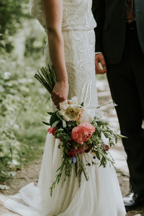 Handtied bridal bouquet using locally grown flowers by Hollow Meadows Flowers, Sheffield and the Peak District