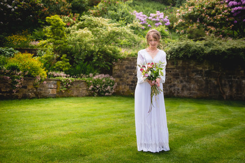 Handtied bridal bouquet using locally grown flowers by Hollow Meadows Flowers, Sheffield and the Peak District. Photo - Kate Cooper Photography