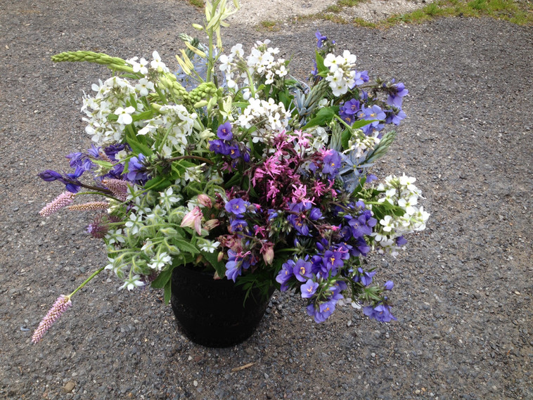 DIY flowers buckets that have been cut, pick and conditions ready for collection by a wedding client