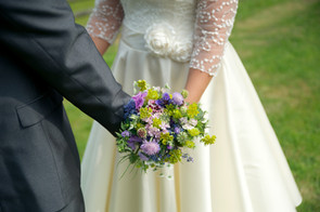 Handtied bridal bouquet using locally grown flowers by Hollow Meadows Flowers, Sheffield and the Peak District. Photo - Image Boutique