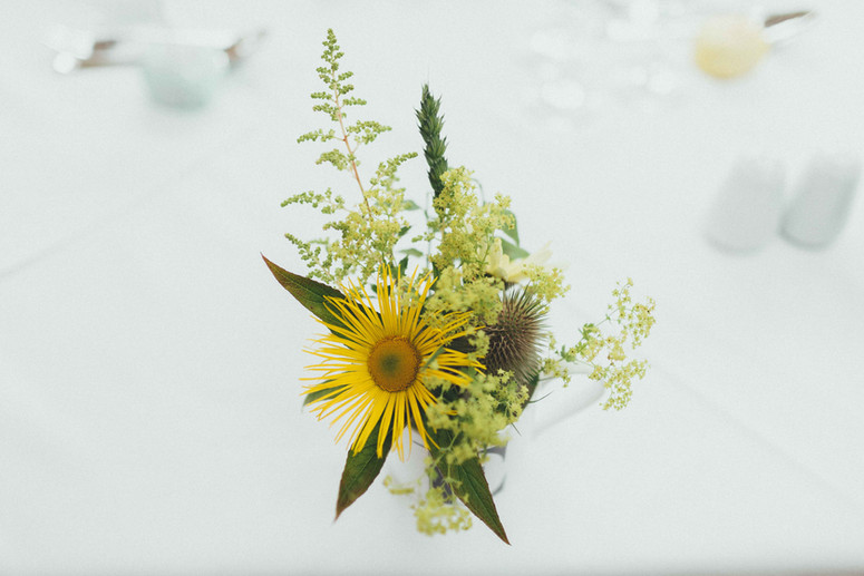 Wedding venue flowers using locally cut flowers from Hollow Meadows Flowers, Sheffield and the Peak District