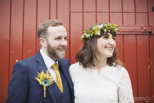 Handtied Bridal flower crown and grooms buttonhole using locally grown flowers by Hollow Meadows Flowers, Sheffield and the Peak District.
