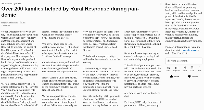 Over 200 families helped by Rural Respon