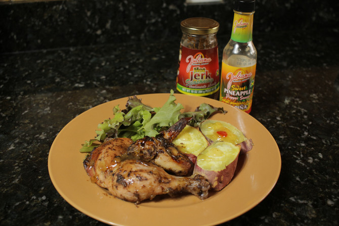 Oven Jerk Chicken with Sweet Pineapple Sauce
