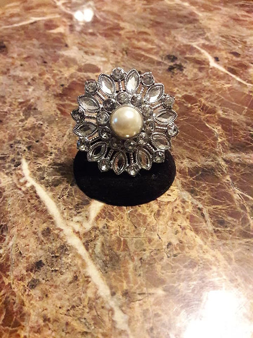 Stretchy Pearl Center Ball and Silver Stone Ring