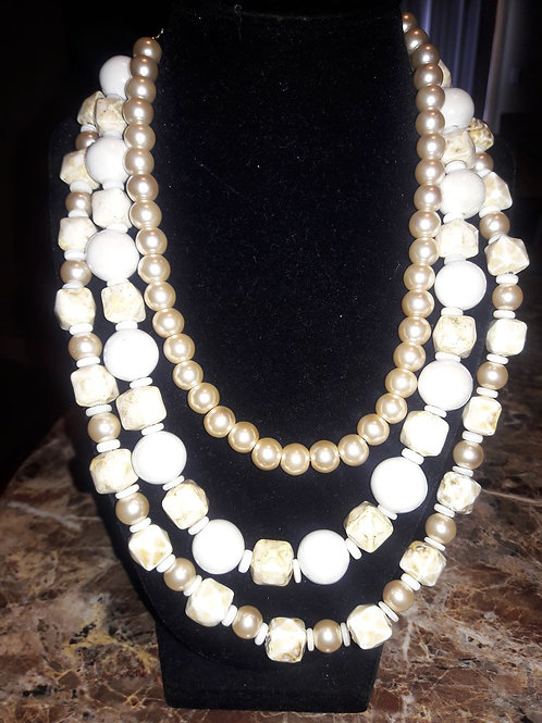 3 layered Natural Bone and Tan Pearl