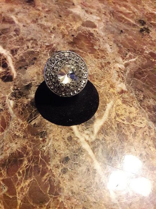 Stretchy Silver Rhinestone Ring