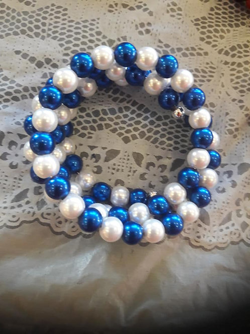 Blue and Pearl Wire Wrapped Bracelet