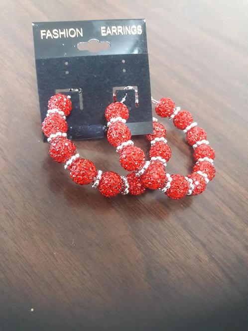 Red & Silver Sparkling Hoop Earrings
